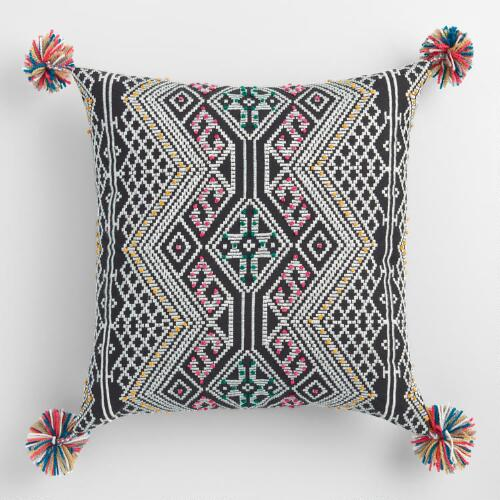 Multicolored French Knot Throw Pillow