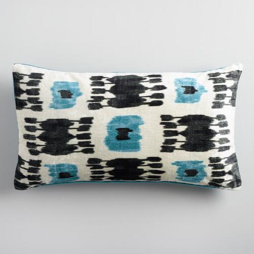 Oversized Teal Ikat Velvet Lumbar Pillow