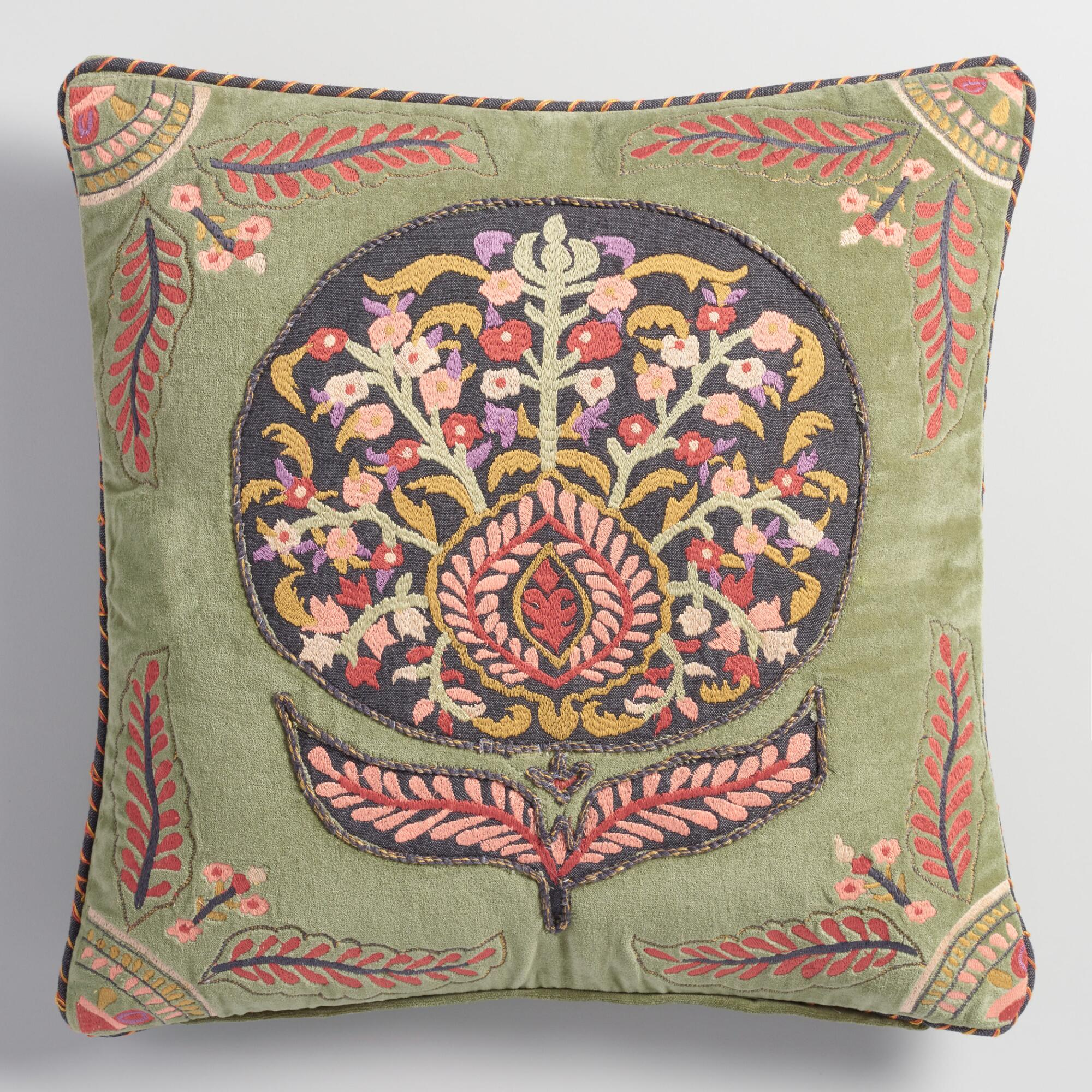 Decorative Pillows Flowers : Embroidered Flower Velvet Throw Pillow World Market