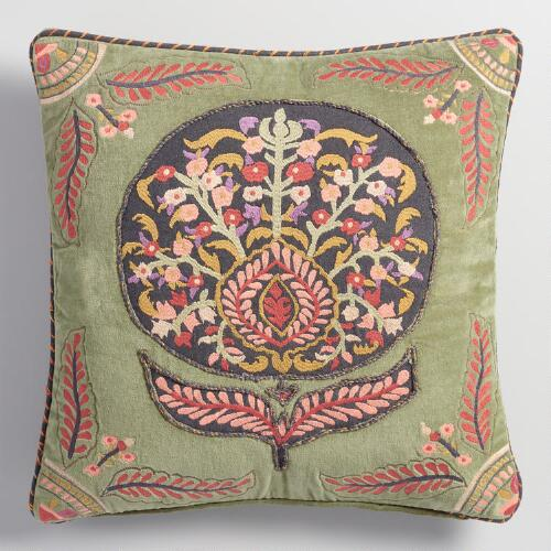 Embroidered Flower Velvet Throw Pillow