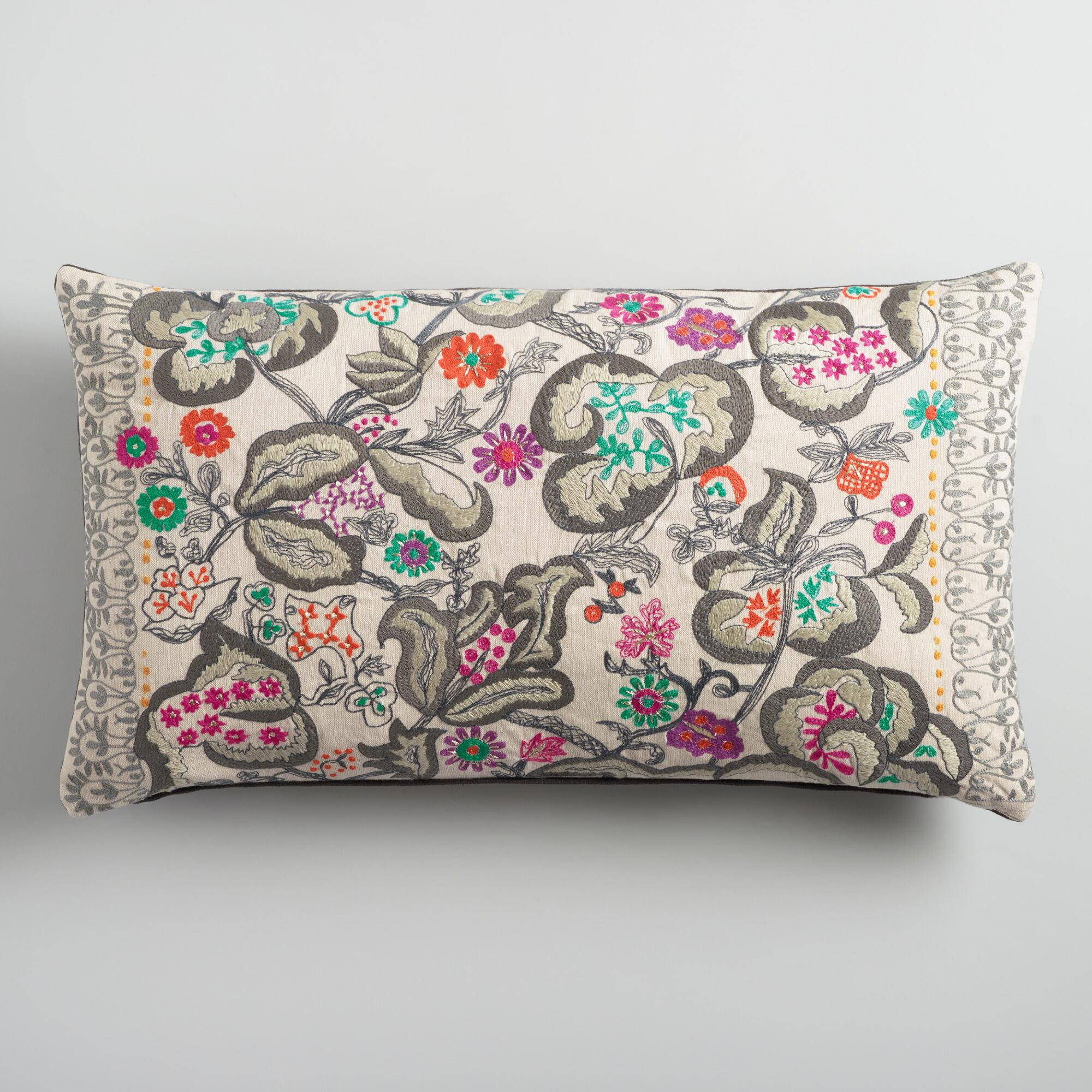 Oversized Embroidered Fantasy Floral Lumbar Pillow World