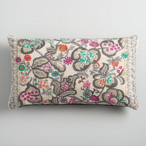 Oversized Embroidered Fantasy Floral Lumbar Pillow