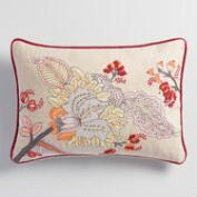 Embroidered Floral Lumbar Pillow