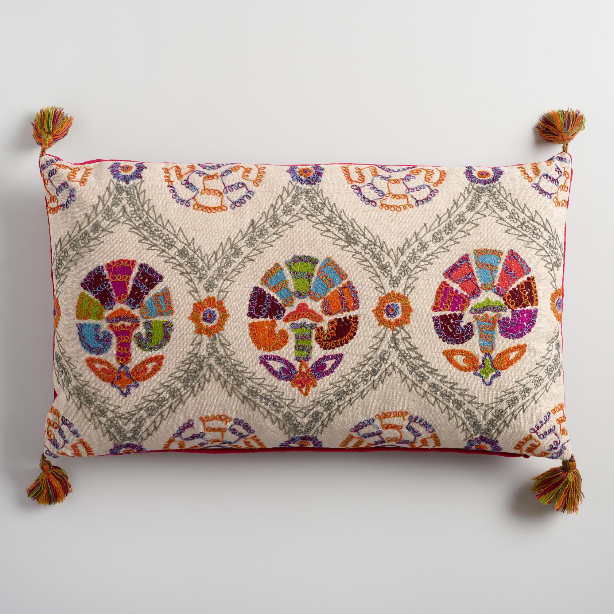 Oversized White Decorative Pillows : Oversized Embroidered Suzani Lumbar Pillow World Market
