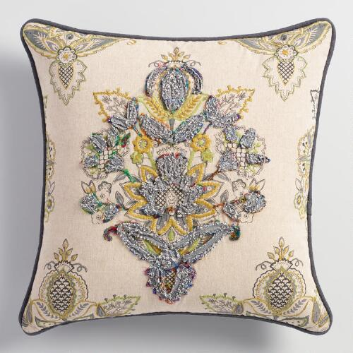 Embroidered Floral Octavia Throw Pillow