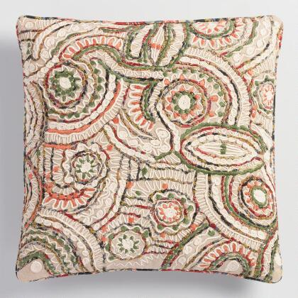 Embroidered Swirl Throw Pillow
