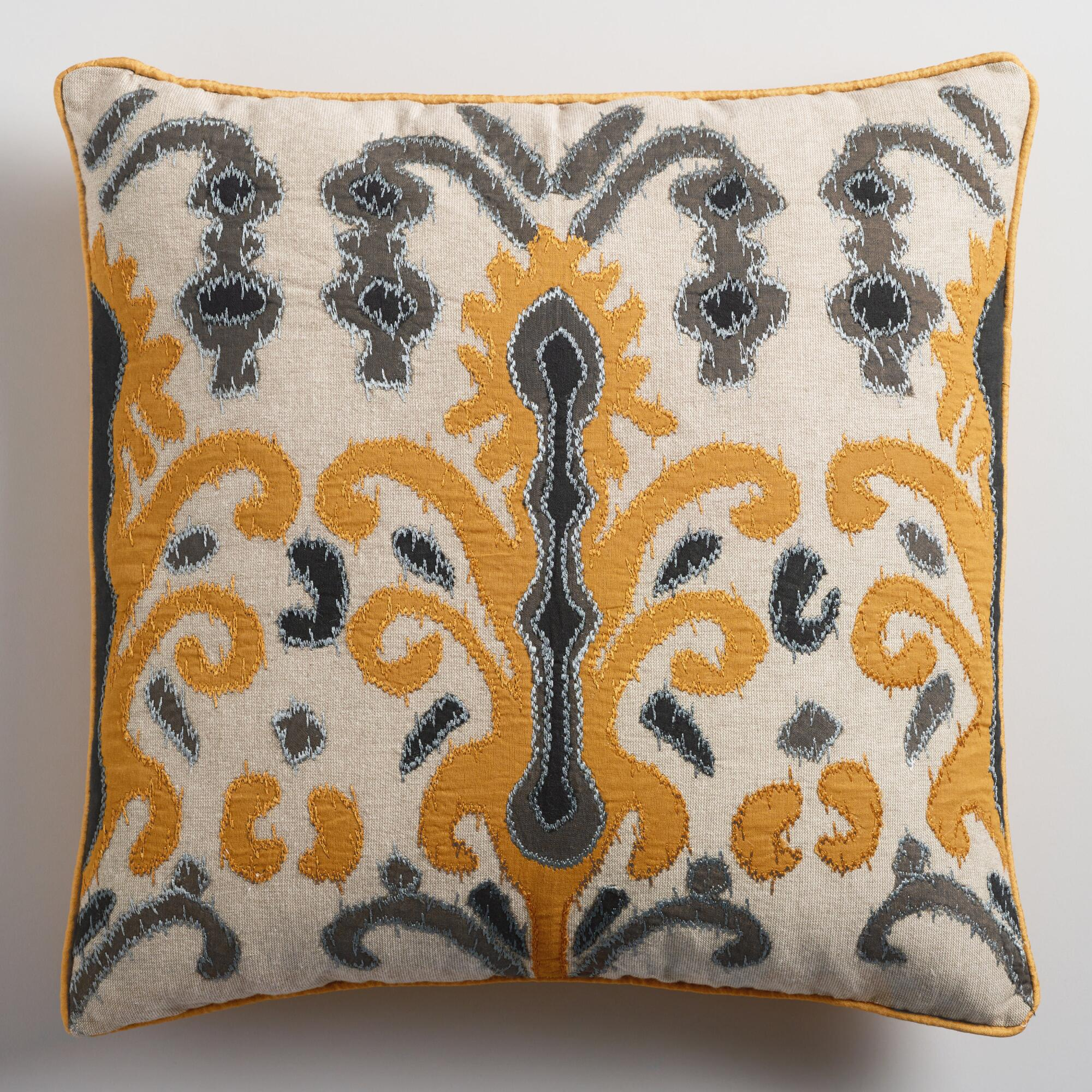 Throw Pillows Gif : Gold and Gray Applique Ikat Throw Pillow World Market