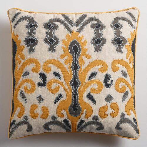 Gold and Gray Applique Ikat Throw Pillow