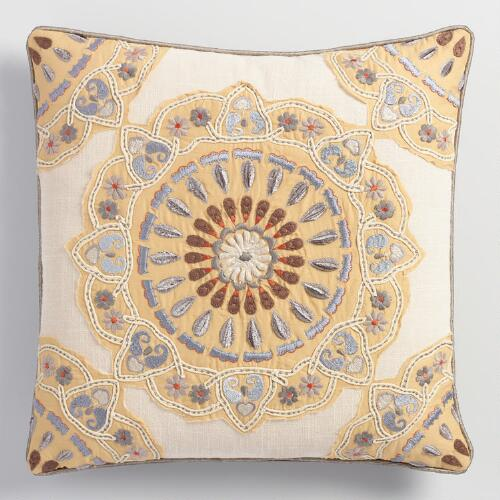 Appliqued and Embroidered Medallion Throw Pillow