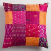 Pink Sari Patchwork Throw Pillow