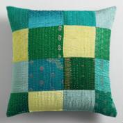 Green and Teal Sari Patchwork Throw Pillow