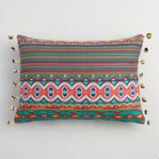 Embroidered Stripe Lumbar Pillow with Pom Poms