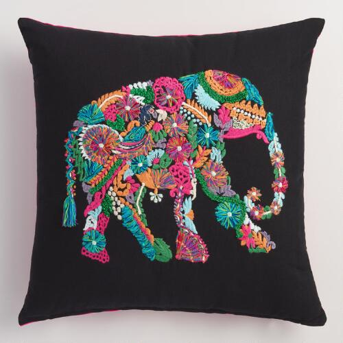 Embroidered Elephant Throw Pillow