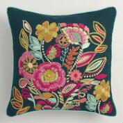 Embroidered Floral Bouquet Throw Pillow