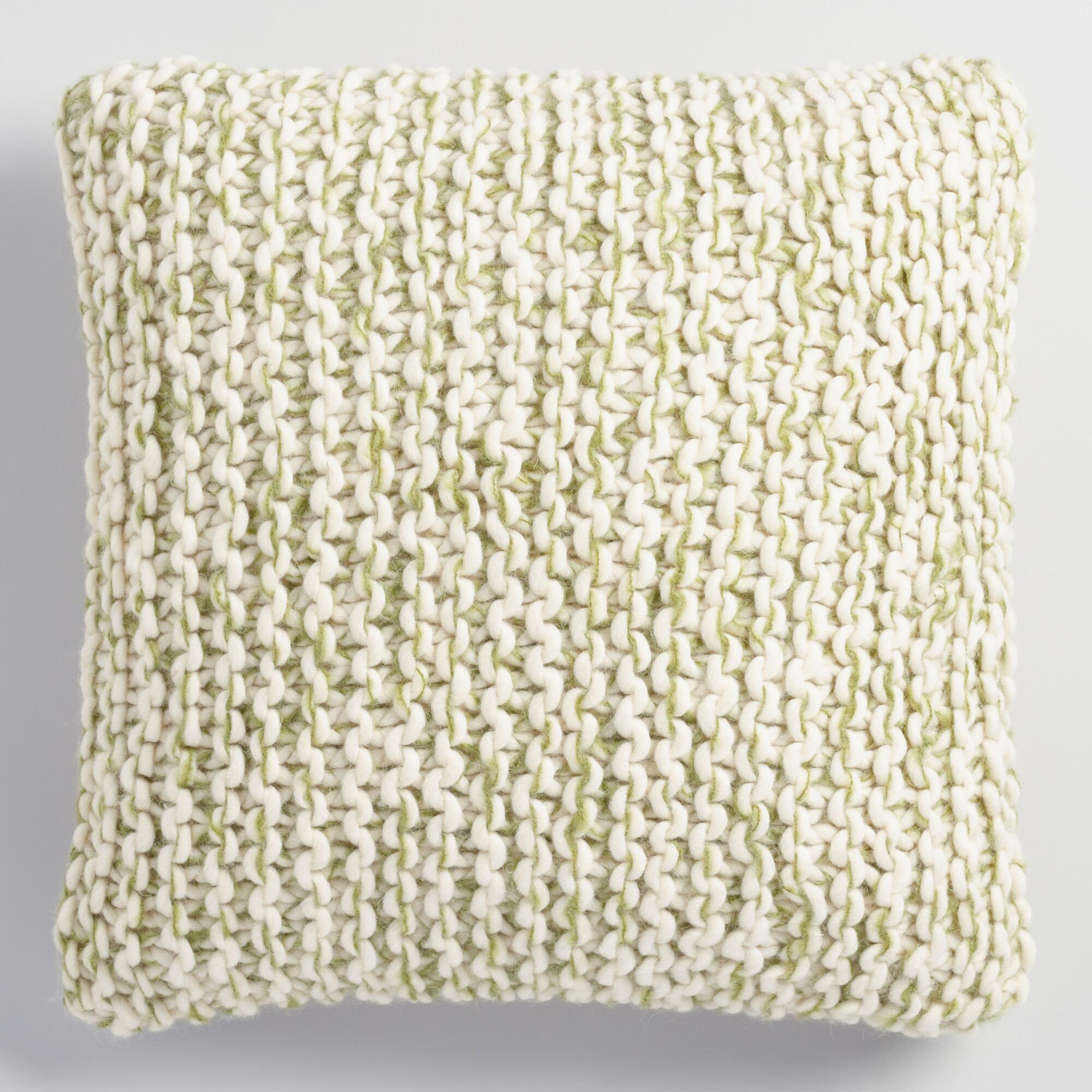Knitting Patterns For Throw Pillows : Green and Ivory Chunky Knit Throw Pillow World Market