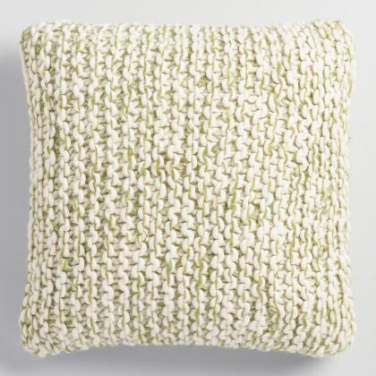 Green and Ivory Chunky Knit Throw Pillow