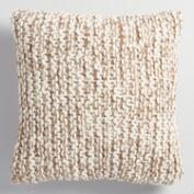 Oatmeal and Ivory Chunky Knit Throw Pillow