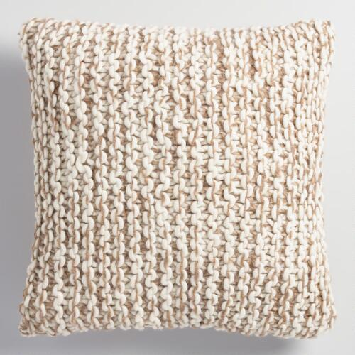 Knitting Patterns For Throw Pillows : Oatmeal and Ivory Chunky Knit Throw Pillow World Market
