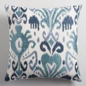 Indigo Ikat Jacquard Throw Pillow