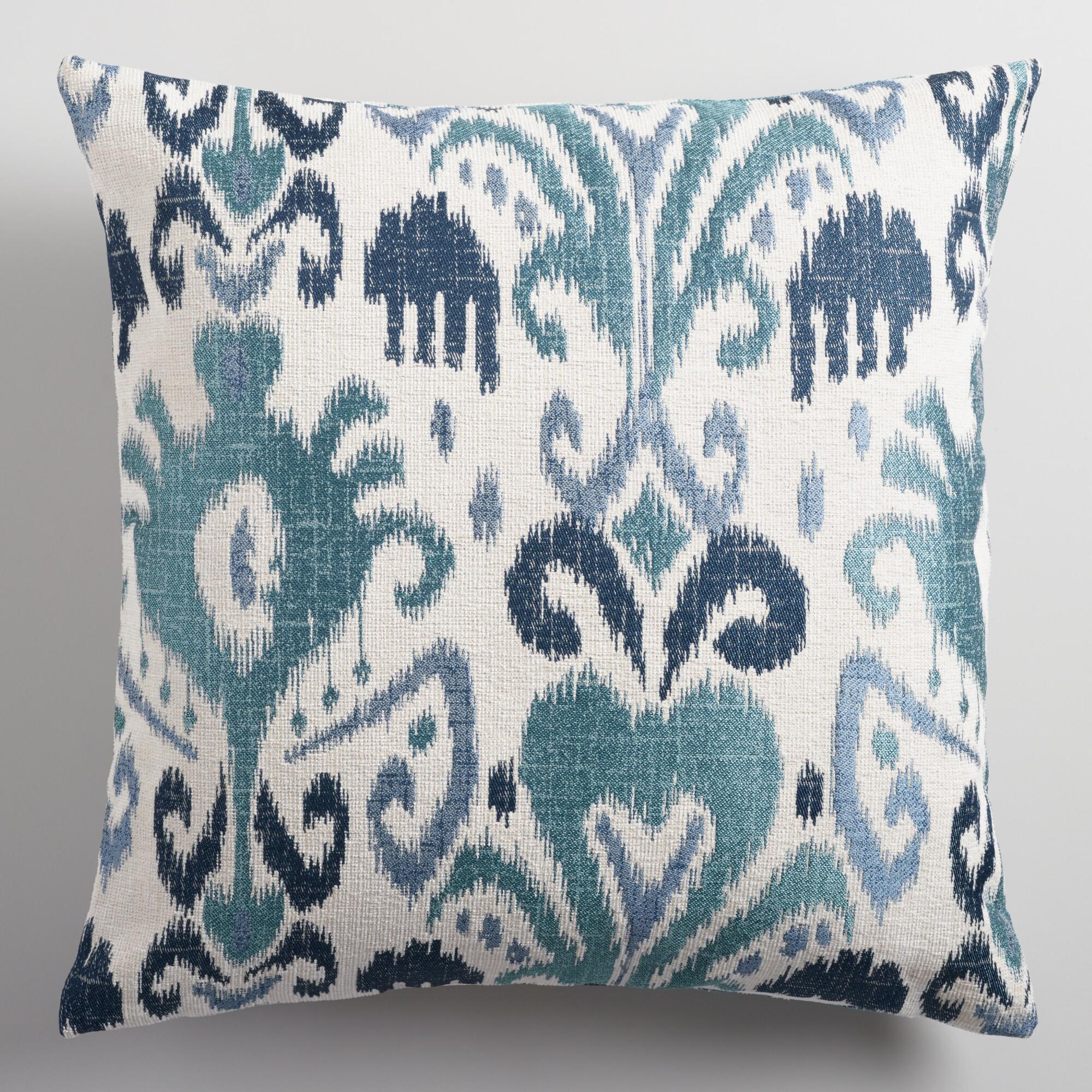 Indigo Ikat Jacquard Throw Pillow World Market