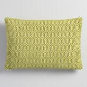 Green Geo Chenille Lumbar Pillow