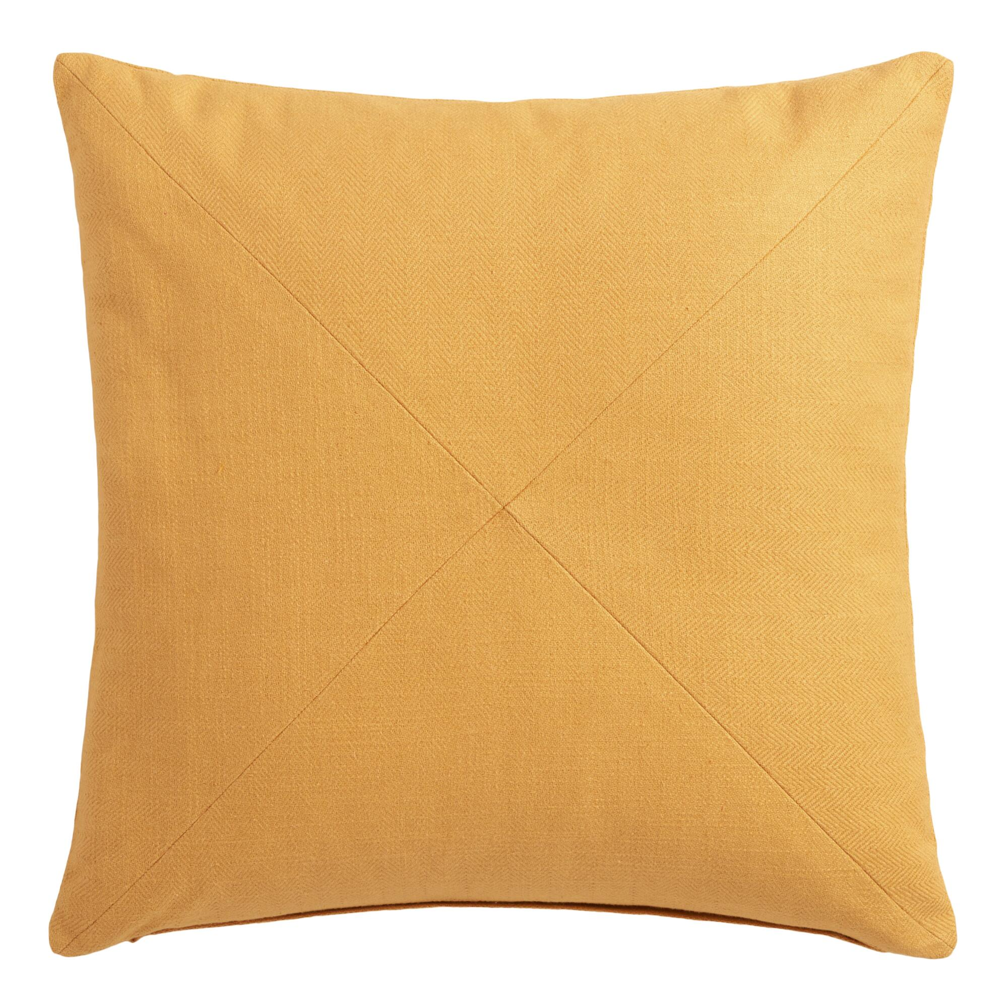Throw Pillows Gif : Gold Herringbone Cotton Throw Pillow World Market