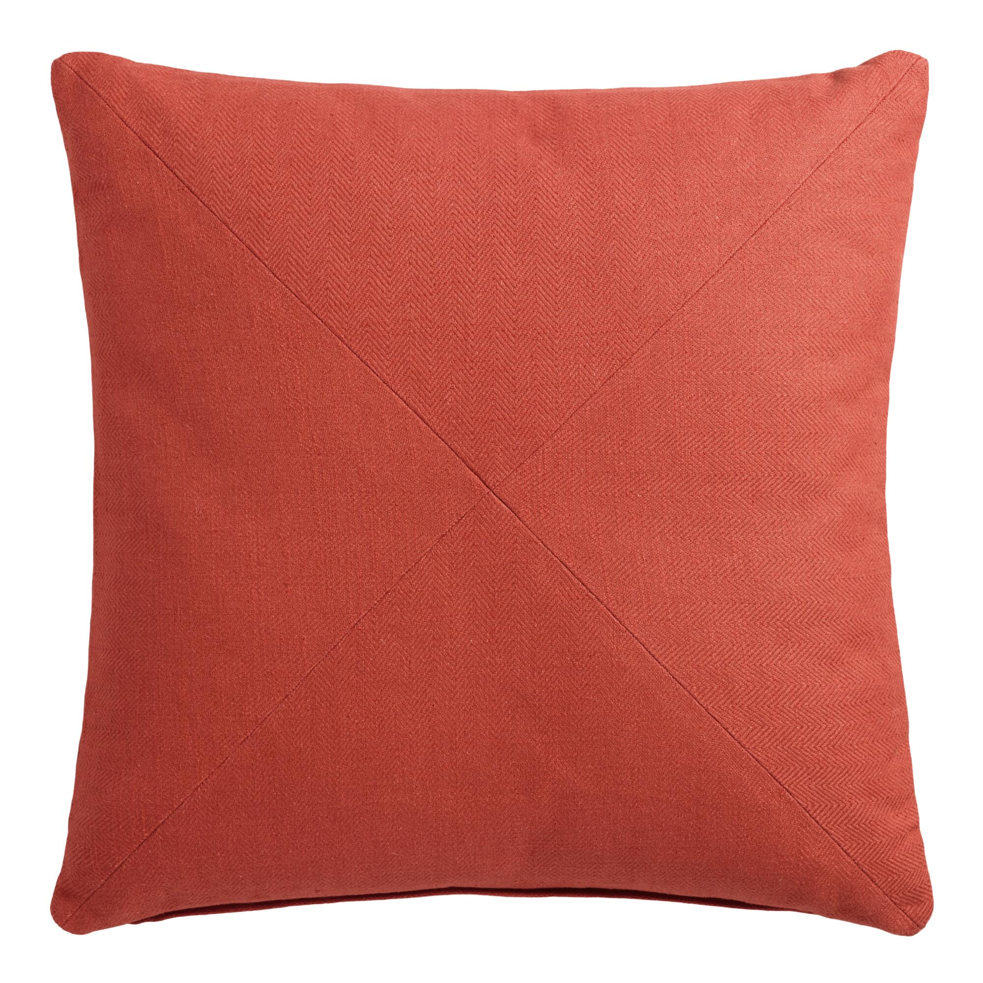 Throw Pillows With Orange : Orange Herringbone Cotton Throw Pillow World Market