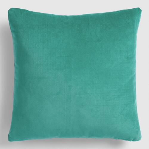 Deep Teal Velvet Throw Pillow