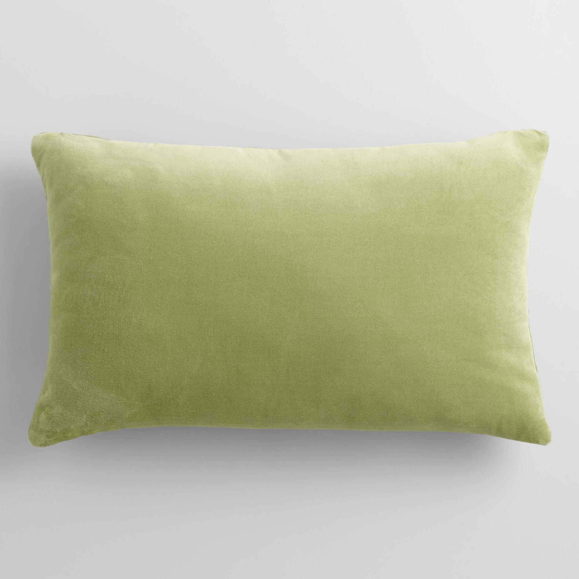 Sage Green Velvet Lumbar Pillow World Market