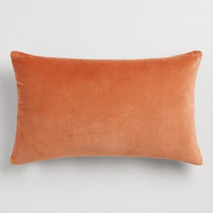 Light Rust Velvet Lumbar Pillow