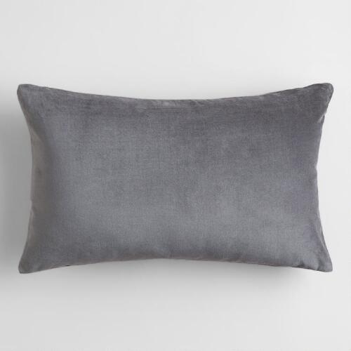 Tornado Gray  Velvet Lumbar Pillow
