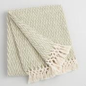 Sage Green and Ivory Woven Throw with Fringe