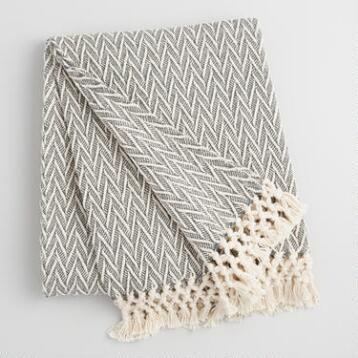 Charcoal Gray and Ivory Woven Throw with Fringe