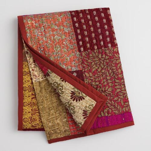 Spice Patchwork Sari Throw