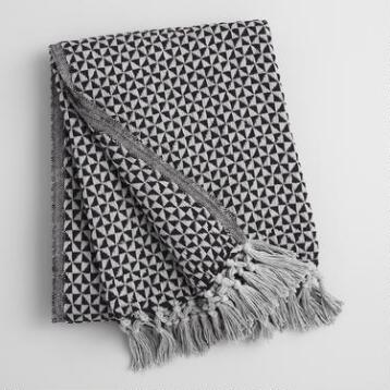 Black and Gray Geo Woven Throw