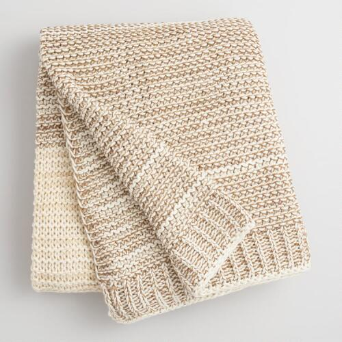 Oatmeal and Ivory Knit Sweater Throw