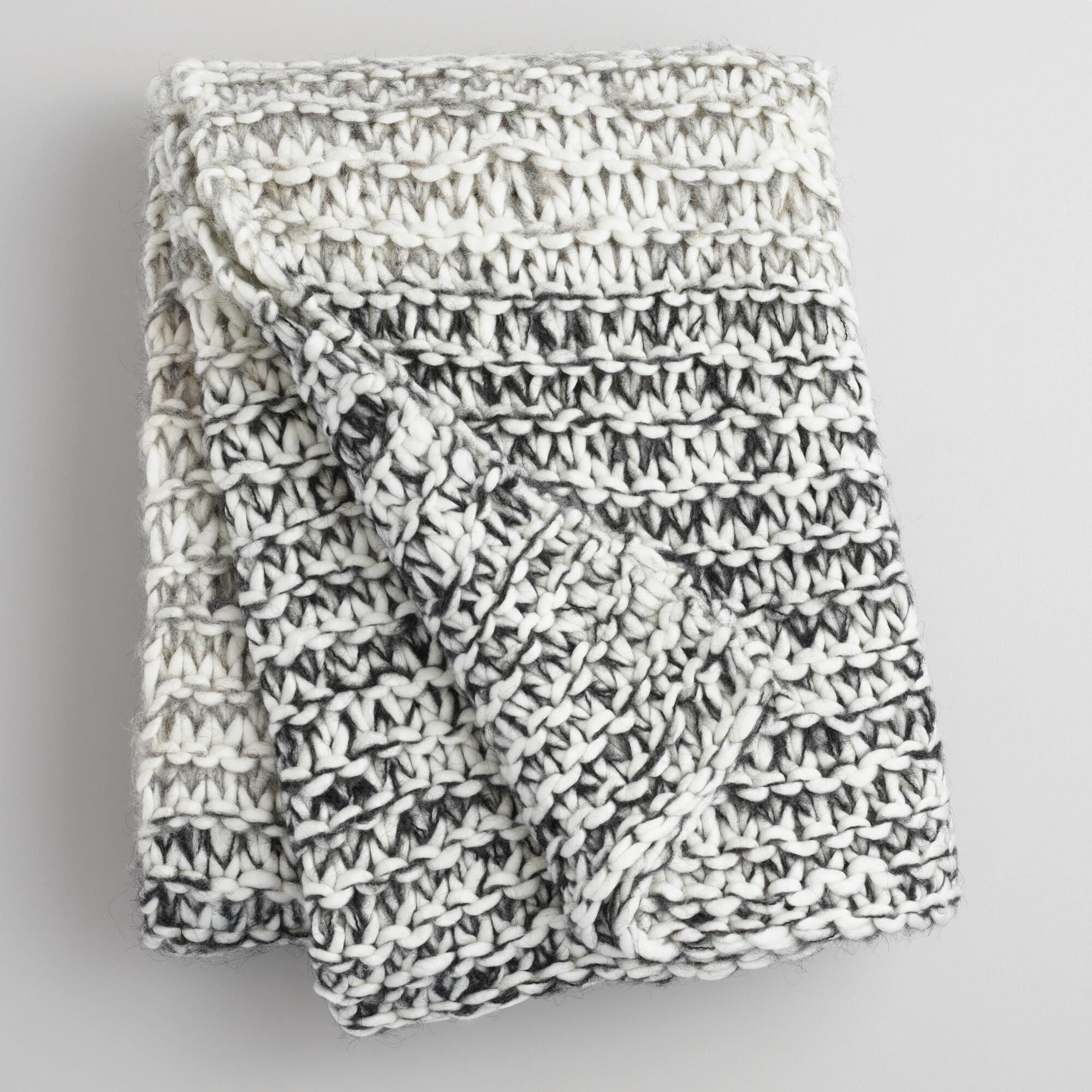 Grey Knit Throw Pillow : Gray and Ivory Extra Chunky Knit Throw World Market