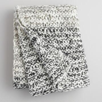 Gray and Ivory Extra Chunky Knit Throw