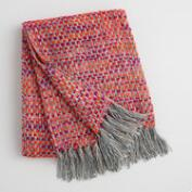 Fuchsia Dots Woven Throw