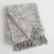 Gray Dots Woven Throw