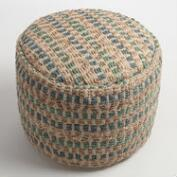 Teal and Blue Jute Pouf
