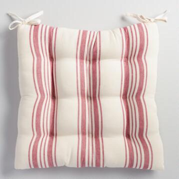 Red Villa Stripe Chair Cushion