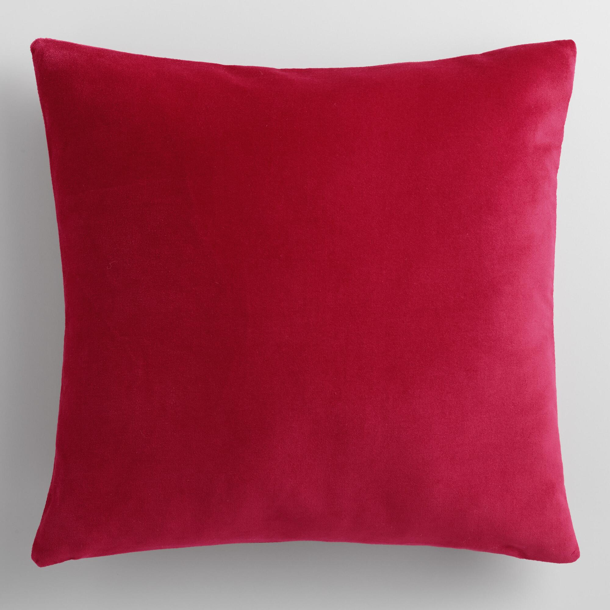 Throw Pillows Velvet : Cherry Red Velvet Throw Pillow World Market