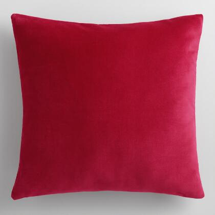 Cherry Red Velvet Throw Pillow