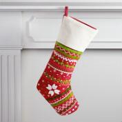 Red Embroidered Stocking with Ivory Cuff