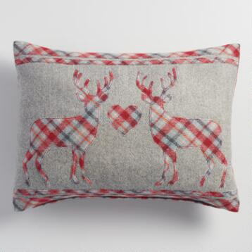 Wool Stag Heart Lumbar Pillow