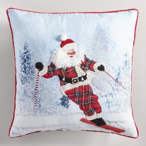 Skiing Santa Throw Pillow