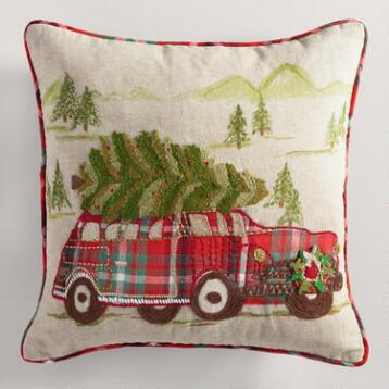 Vintage Christmas Car Throw Pillow
