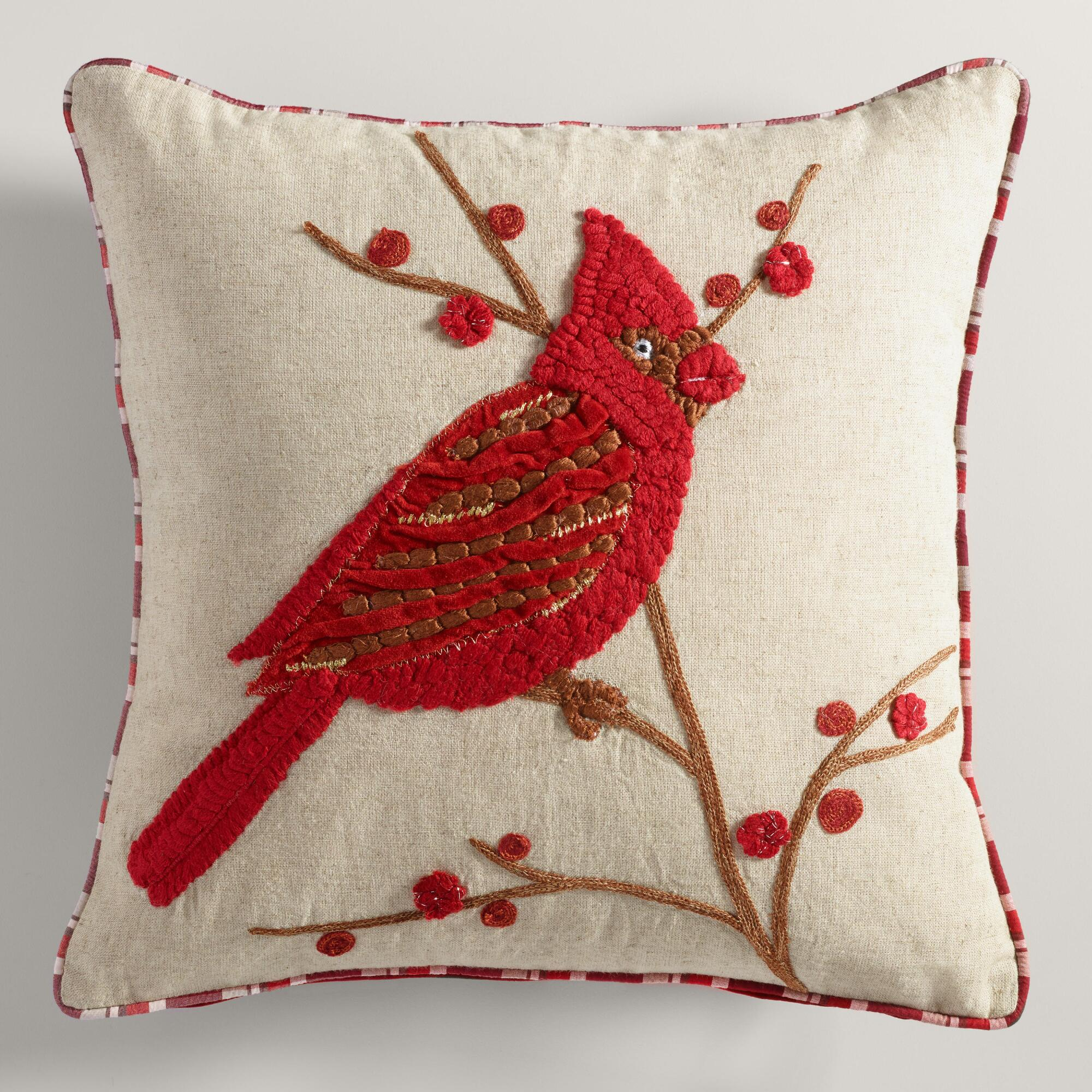Throw Pillows With Birds : Red Bird with Branch Throw Pillow World Market