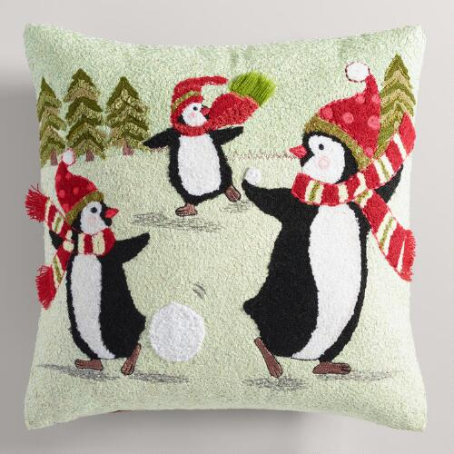 Crewel Ice Skating Penguins Throw Pillow